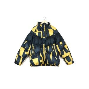 nike • black yellow down fill aop jacket sz large
